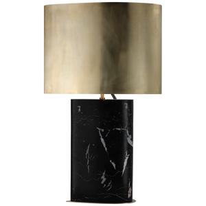 Visual Comfort Murry Large Teardrop Table Lamp in Black Marble with antique Burnished Brass Shade/ Duvall Atelier