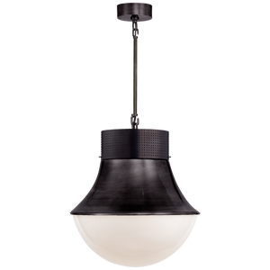 Visual Comfort Precision Large Pendant in Bronze with White Glass/ Duvall Atelier
