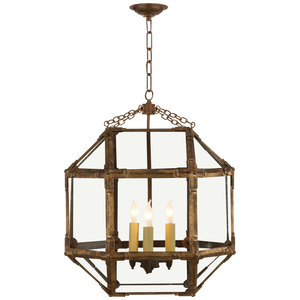 Visual Comfort Morris Medium Lantern in Gilded Iron with Clear Glass/ Duvall Atelier