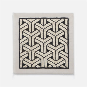 "Natural materials meet pop art sensibilities with our graphic Zema. Coco beads are hand woven to create the bold black-and-white pattern, encased in an acrylic frame for easy display.  20""W X 3""D X 20""H"
