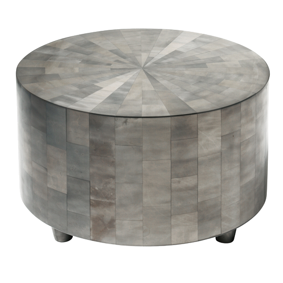 "Drum table with hand-cut resin veneer in clear with silvering.  Dimensions: 30""diameter x 17""h"