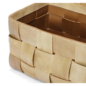 "Perrin Baskets Tan Detail - Duvall Atelier A pair of baskets crafted of woven tan leather make for the chicest of storage options.  16""w x 10""d x 9""h 15""w x 9""d x 9""h"