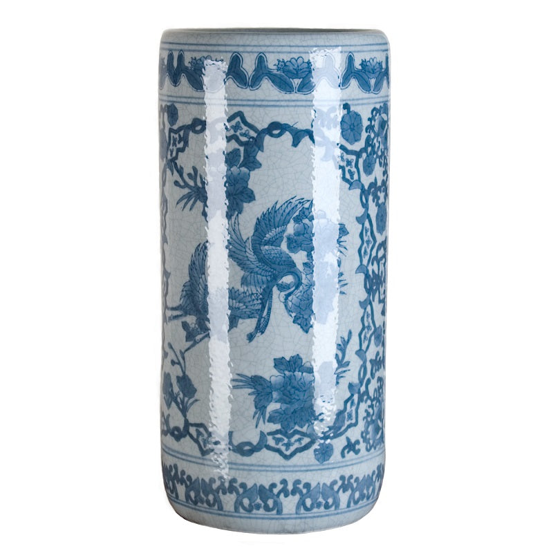 "This uniquely elegant chinoiserie motif vase is a perfect piece to start or add to a blue and white porcelain collection.  SIZE: 8""diam x 18""h"