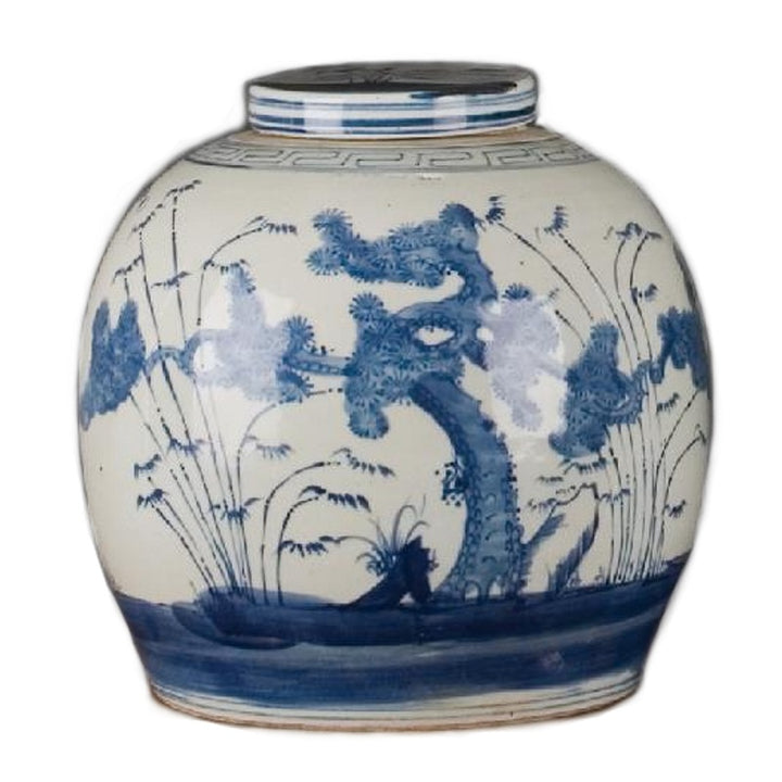 Blue & White Lidded Ginger Jar