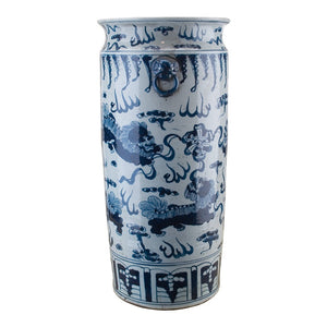 "Compatible with umbrellas, canes, and walking sticks, vase offers a helping hand in entryways, mudrooms, and beyond (and looks good doing it!). It's crafted from porcelain and features a classic Foo Dog Motif that brings Eastern influence to your decor. Though this piece is meant to hold umbrellas and the like, feel free to throw out the rule book and use it to display faux plants, coiled willow branches, and other decorative fill.  SIZE: 11""DIAM x 24""H"