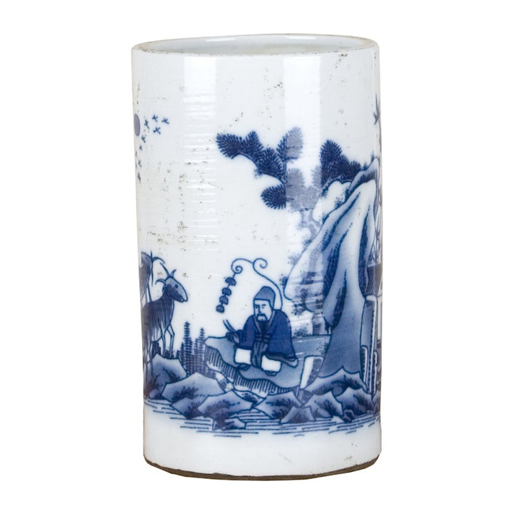 Blue & White Small Cylindrical Vase