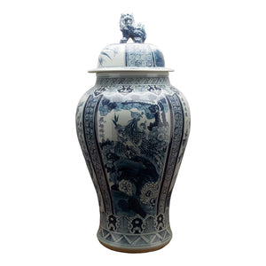 Blue & White Lidded Temple Jar