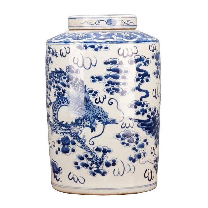 Blue & White Lidded Sleeve Vase