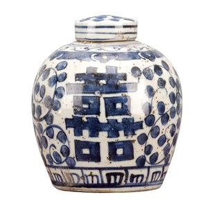 Blue & White Lidded Small Jar