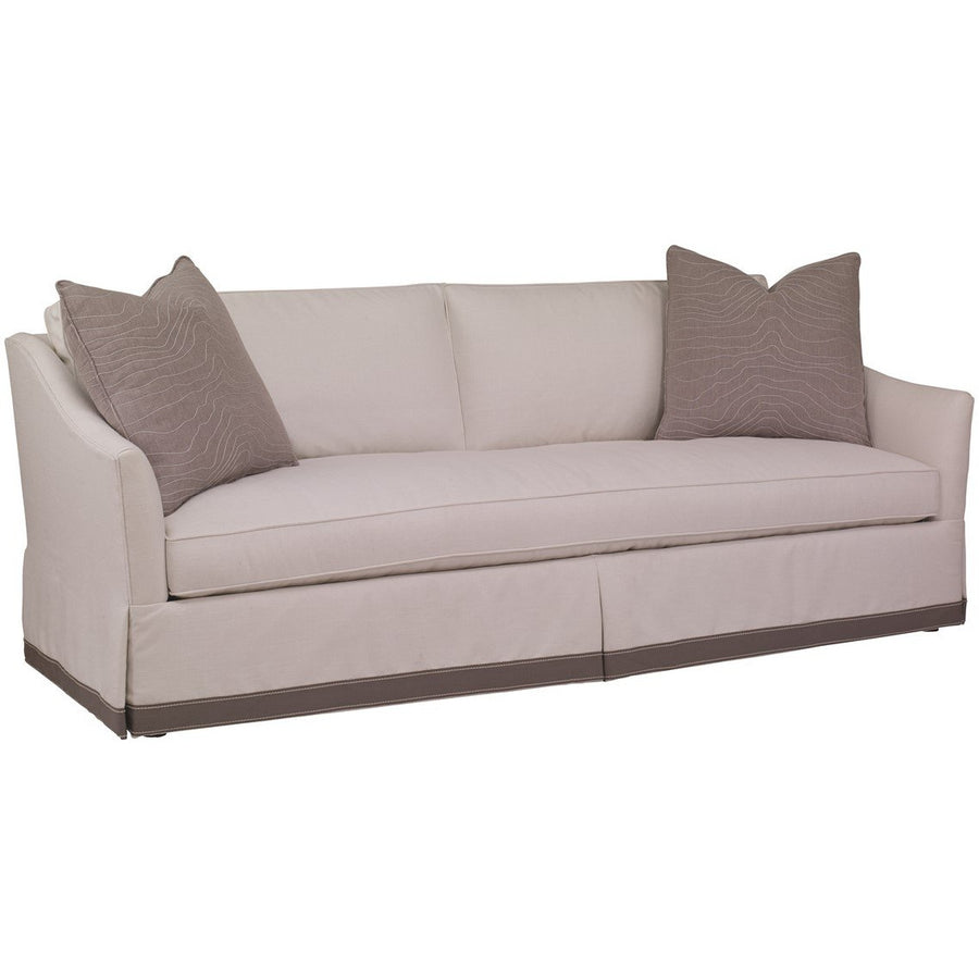 Our Charlotte sofa has a beautiful profile with narrow, relaxed arms, comfy bench seat, double cushion back and kick-pleated waterfall skirt. Casual, but perfectly attired. Overall Dimensions:	88 W 36 D 34 H (inches) Arm:	H 25 Seat: H 18 D 23 W 77 (inches)