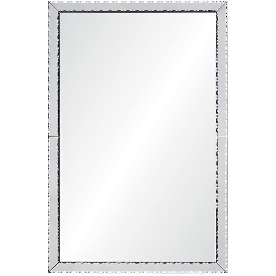 Designed by Celerie Kemble. Mirror framed mirror with a non-beveled center mirror surrounded by hand cut and jewelry beveled mirrors. Wood backing in satin black finish. Cleat hanging hardware provided. Item can hang horizontally or vertically.