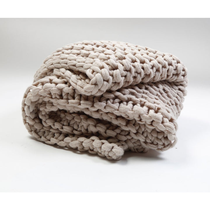Finn Hand Knit Throw - Taupe