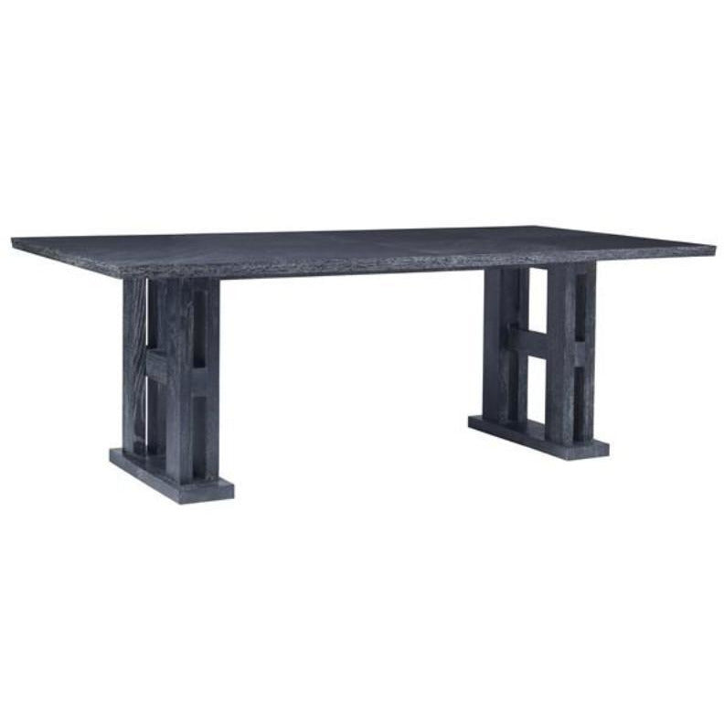 The Trestle Table is a historic furniture form, dating all the way back to the middle ages. Ours is inspired by modern form and features a reverse diamond pattern on the table top and a reverse-beveled edge. Made from beautiful Cerused Oak.  OVERALL:     86.5 W 44 D 40 H