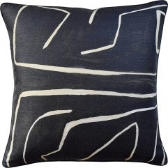 "22""x22"" Graffito Onyx/ Beige Pillow"