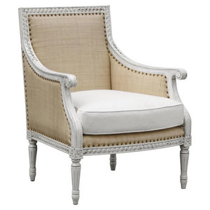 "An antique white finish on the hand-carved hardwood frame. Raffia and ivory upholstery with distressed nailheads.  Dimensions 28.5""w X 29.5""d X 36.5""h  arm: 24.5""h  seat: 23""d x 17.5""h"
