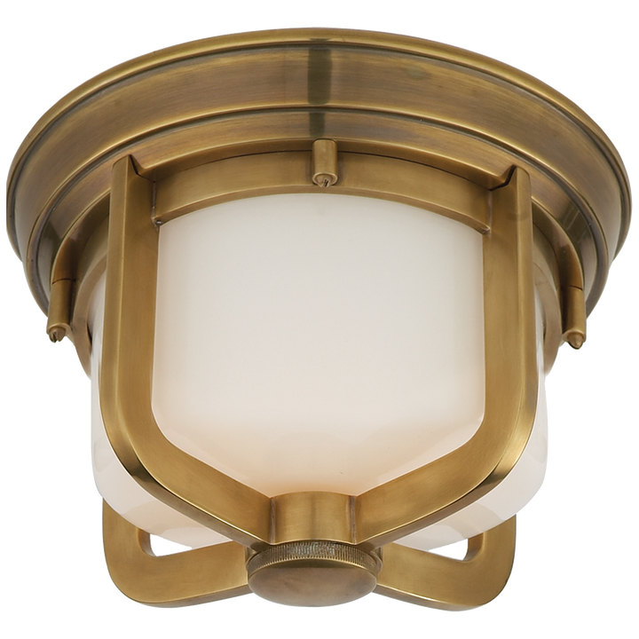 Milton Short Flush Mount - Duvall Atelier. Finish: Hand-Rubbed Antique Brass with White Glass