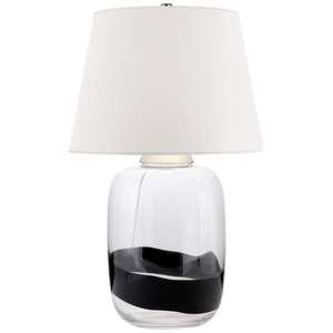 "Adela Large Table Lamp in Clear and Black Glass with White Paper Shade  DESIGNER: RALPH LAURENSPECIFICATIONS  Height: 32""  Width: 20""  Base: 8.5""  Round Shade Details: 15"" X 20"" X 15""  Socket: E26 Dimmer  Wattage: 150 A French Wired"
