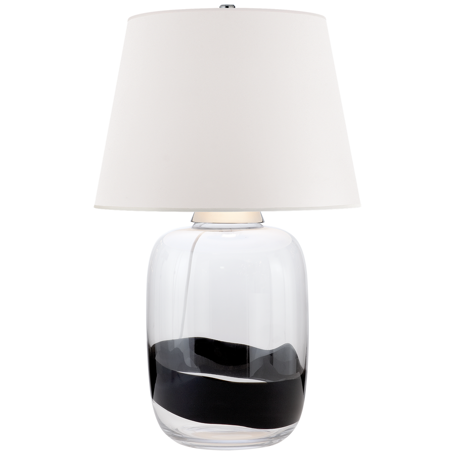 "Adela Large Table Lamp in Clear and Black Glass with White Paper Shade  DESIGNER: RALPH LAURENSPECIFICATIONS  Height: 32""  Width: 20""  Base: 8.5""  Round Shade Details: 15"" X 20"" X 15""  Socket: E26 Dimmer  Wattage: 150 A French Wired/ Duvall Atelier"