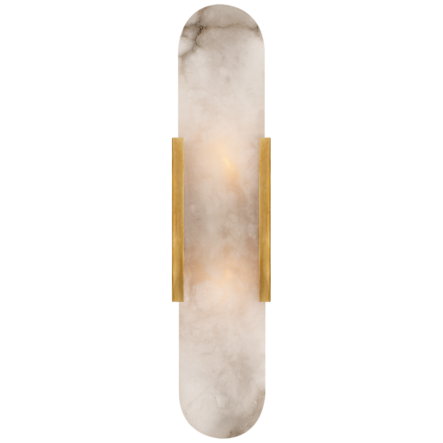 Visual Comfort Melange Elongated Sconce  Finish: Antique-Burnished Brass with Alabaster/ Duvall Atelier