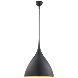 Visual Comfort Agnes Medium Pendant - Duvall Atelier Finish: Matte Black with Gild Interior