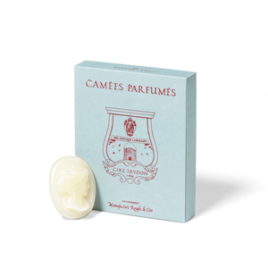 The scented cameo wax goes on the ceramic dish of La Promeneuse. Once the night-light is lit, the heated cameo will melt and spread its fragrance rapidly into the air.  A scented wax cameo will diffuse 8 hours approximately  Box of 4