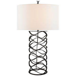 Bracelet Table Lamp in Aged Iron with Linen Shade