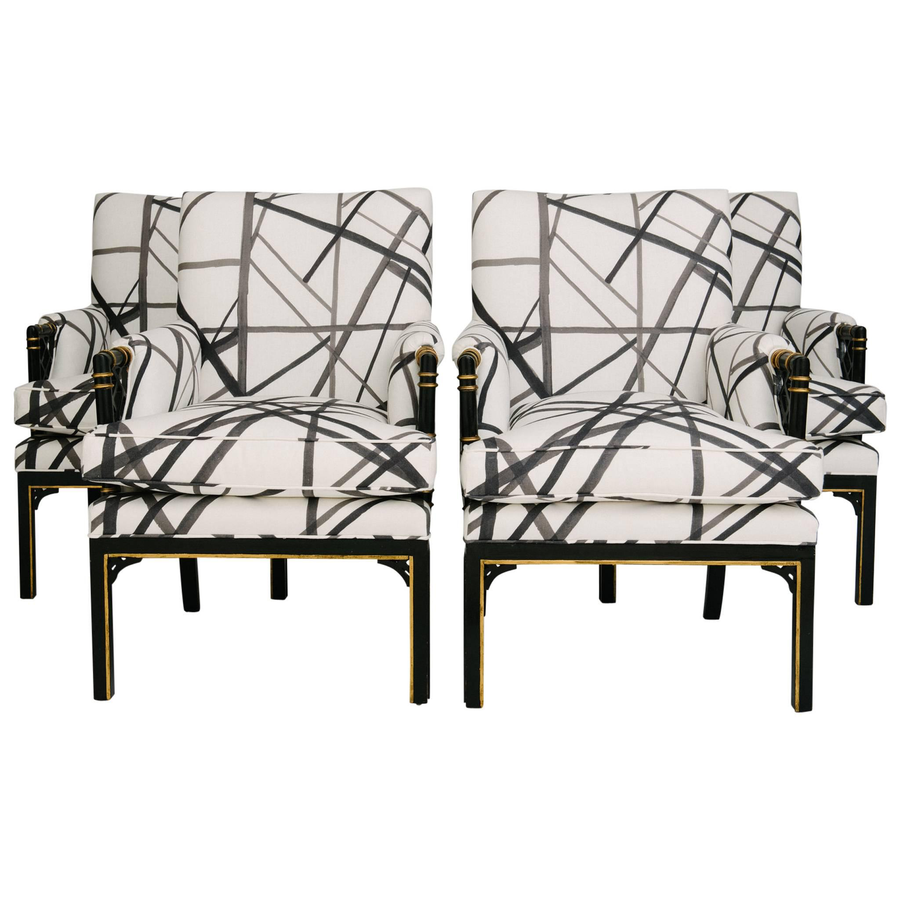 "1940S CHIPPENDALE STYLE CHAIRS, KELLY WEARSTLER'S CHANNELS FABRIC, Duvall AtelierDimensions: 35.5""H x 25.5""W x 30""D  Seat Height: 19.4"