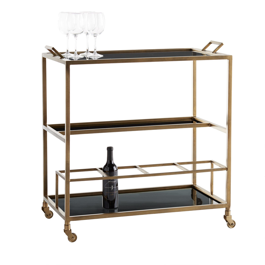 Jak Bar Cart - Duvall Atelier Multi-tiered, this antique brass bar cart offers extensive opportunities for styling. Perfect for parties, the black glass tray top is removable, taking martinis on the go.