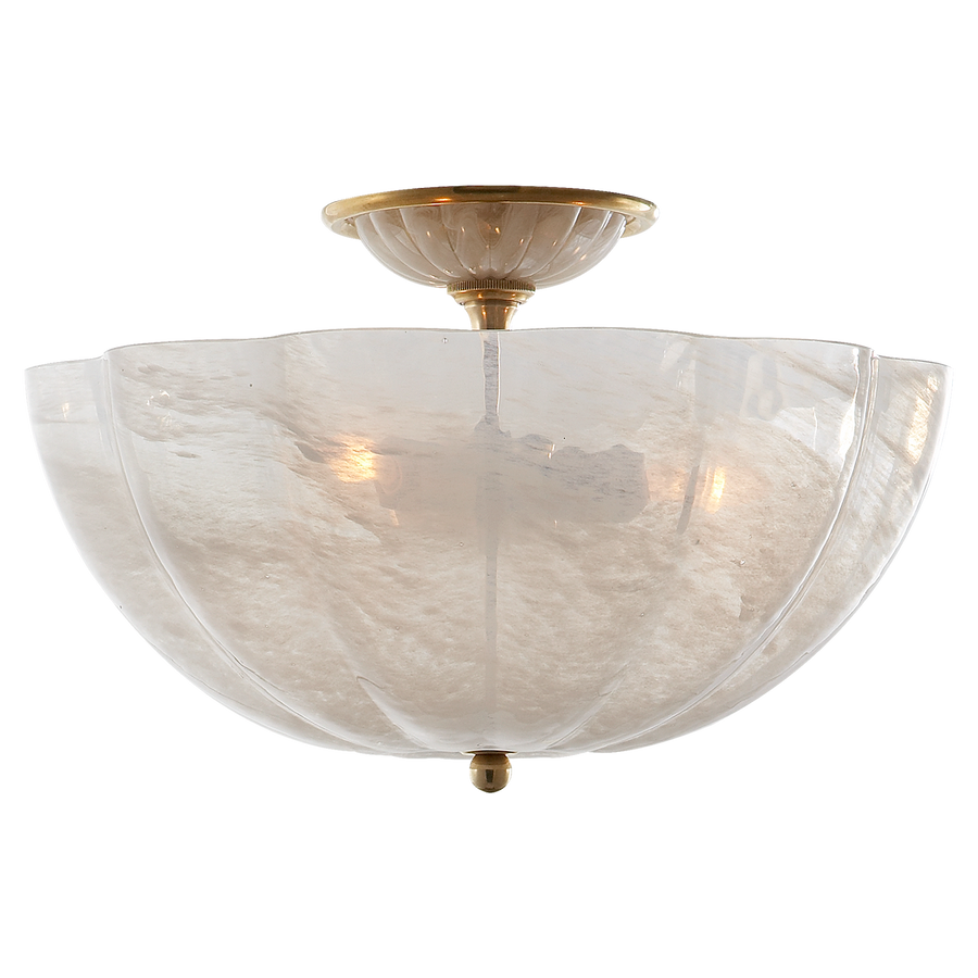 Rosehill Semi-Flush - Duvall Atelier. Hand Rubbed Antique Brass with White Strie Glass