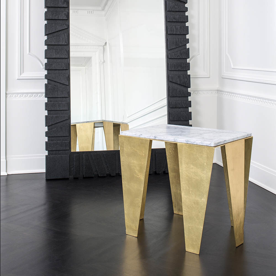 "Grafton Side Table - Duvall Atelier Dramatic and sophisticated, the Grafton Side Table by Kelly Wearstler is composed of a gold leaf steel base paired with a White Venetino honed and sealed marble top which features a reverse bevel edge detail. This sculptural design draws upon the love of geometric shape and clever use of negative space.  26.25""W x 19.25""D x 21""H"
