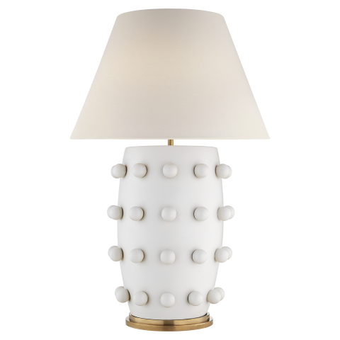 "Linden Table Lamp in Plaster White with Linen Shade.  Designer- Kelly Wearstler  34.25"" H 23"" W   Base 9"" round"