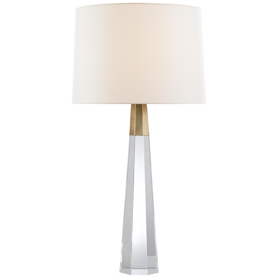 "DESIGNER: AERIN  Finish: Crystal with Brass  Shade: 16"" x 17"" x 12"" linen  SPECIFICATIONS: Height: 32.5"" - 35.5"" Width: 17"" Base: 5"" Octagon Shade Details: 16"" X 17"" X 12"" Socket: 2 - E26 Keyless W/ Dimmer Wattage: 2 - 60 A French Wired"