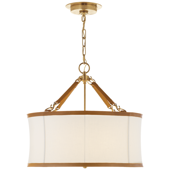 Broomfield Small Hanging Shade - Duvall Atelier. Finish: Natural Brass and Saddle Leather with Linen Shade