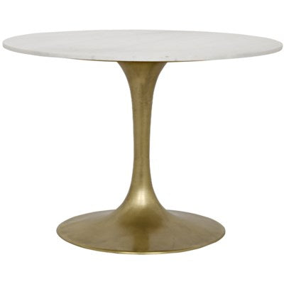 "Laredo Table - 40"" Antique Brass, White Marble Table"