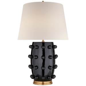 "Visual Comfort Linden Medium Lamp in Black with Linen Shade  Designer:  Kelly Wearstler   Height: 26.5""  Width: 17""  Base: 6.5"" Round  Socket: E26 Dimmer  Wattage: 75 A"