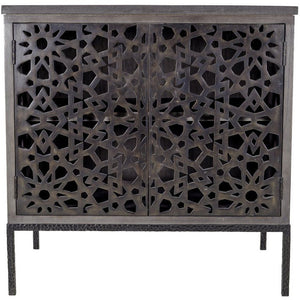 "Hardwood with lattice metal doors and rustic resin top in bronze/charcoal/coal.  Dimensions30""w x 20""d x 30""h"