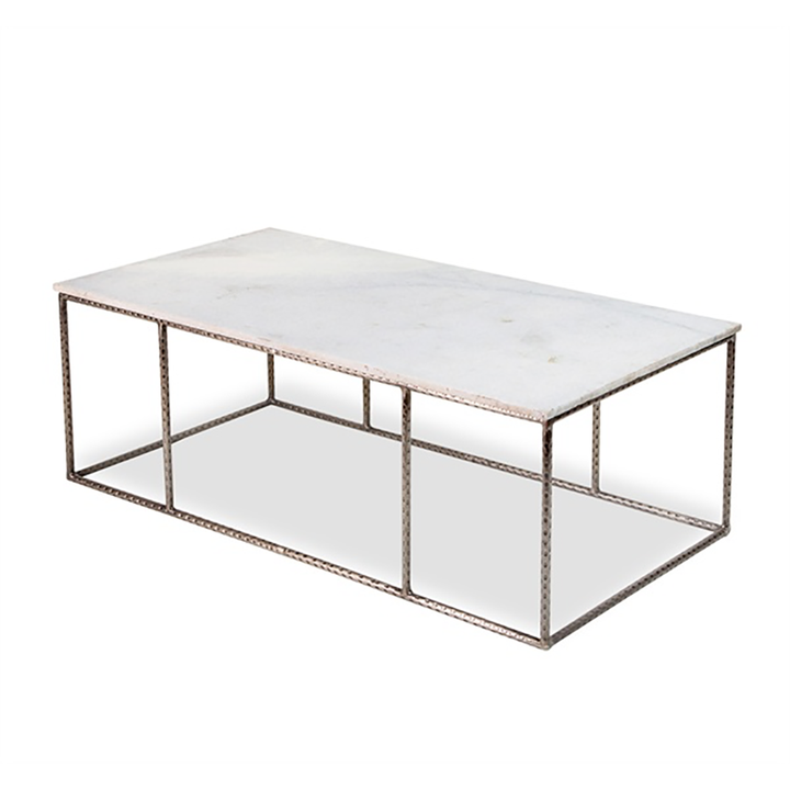 "Manchester Cocktail Table - Duvall Atelier Manchester Cocktail Table is hammered antique silver finish with white marble top  48""w x 24""d x18""h"