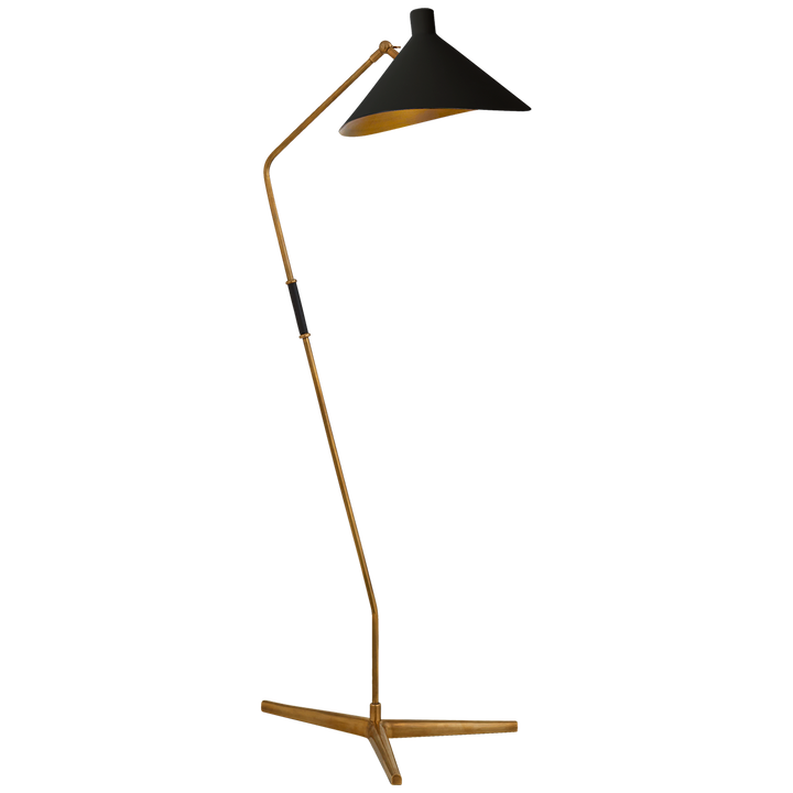 "Mayotte Large Offset Floor Lamp in Hand-Rubbed Antique Brass with Black Shade  Height: 55.25""  Width: 16""  Extension: 21.75""  Base: 16"" Triangle  Socket: E26 Foot Switch  Wattage: 60 A"