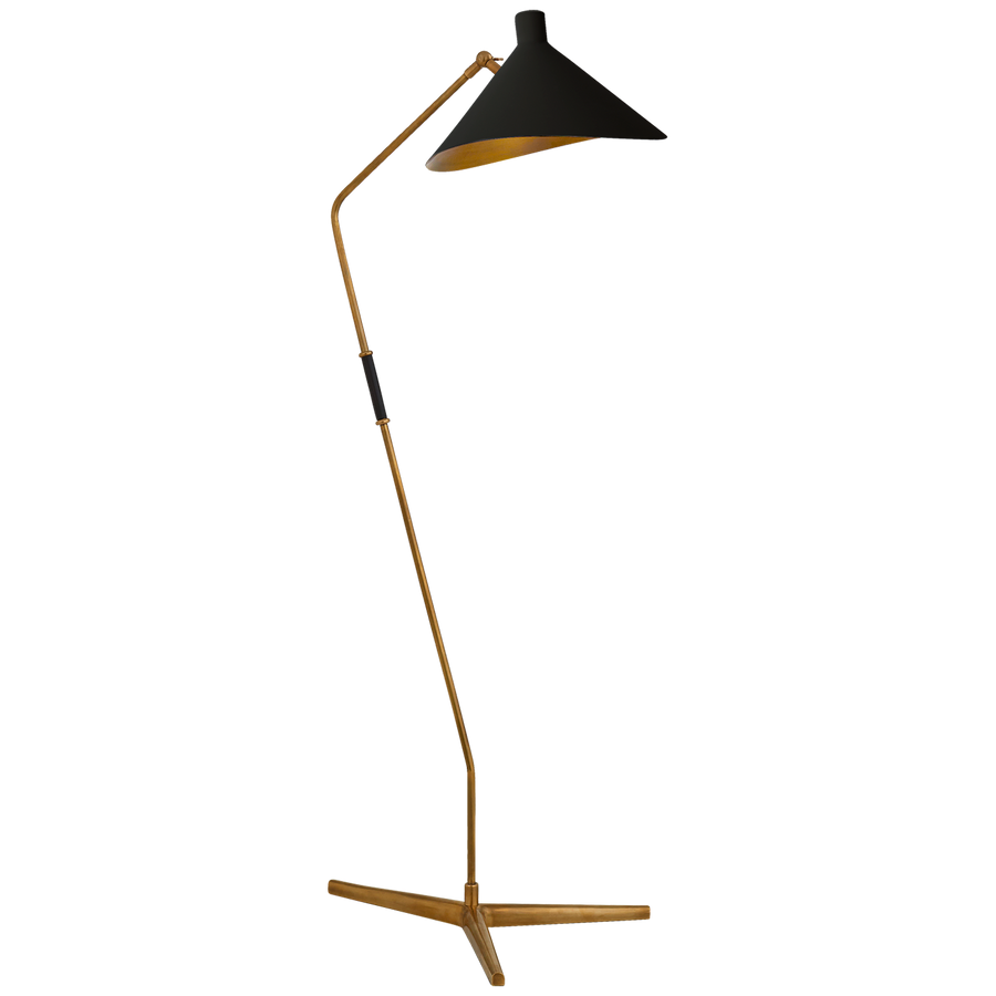 "Visual Comfort Mayotte Large Offset Floor Lamp in Hand-Rubbed Antique Brass with Black Shade  Height: 55.25""  Width: 16""  Extension: 21.75""  Base: 16"" Triangle  Socket: E26 Foot Switch  Wattage: 60 A/ Duvall Atelier"