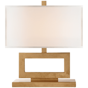 "Visual Comfort Height: 16"" Width: 15"" Base: 4"" X 12"" Rectangle Shade Details: 15"" X 15"" X 8"" Rectangle Socket: E26 Hi-Lo Wattage: 60 A Gild with Linen Shade./ Duvall Atelier"