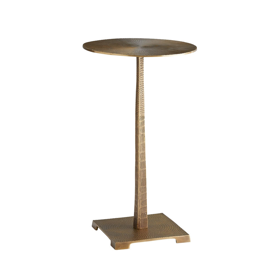 All the handcrafted textures in this exotic accent table make it shine in the spotlight. From meticulously hammered surfaces to etched carvings, the entire piece has been formed and detailed by hand. It's completely smithed frombrass and has a worldly vintage finish. Sized perfectly to hold an afternoon cocktail...or two.   VINTAGE BRASS H: 20.5IN DIA: 12IN