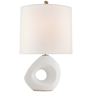 "Paco Large Table Lamp in Marion White with Linen Shade  Height: 31""  Width: 19.25""  Base: 3.75"" x 6.5"" Oval  Socket: E26 Dimmer  Wattage: 100 A"