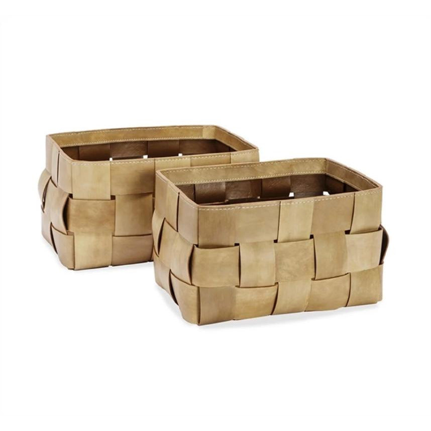 "Perrin Baskets Tan - Duvall Atelier A pair of baskets crafted of woven tan leather make for the chicest of storage options.  16""w x 10""d x 9""h 15""w x 9""d x 9""h"