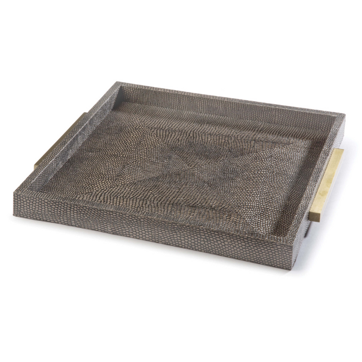 Square Shagreen Boutique Tray (Vintage Brown Snake) - Duvall Atelier