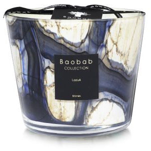 Cardamom – Sea Salt – Musk  The scented candle is a timeless piece of sophistication and elegance. Its marbled glass with intense blue effects perfectly illustrates the amazing personality of Lazuli Stones.