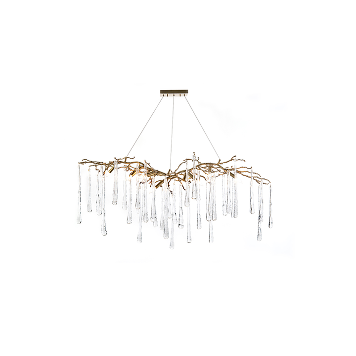 Brass and Glass Teardrop Nine-Light Chandelier - Duvall Atelier