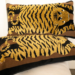Introducing our ATELIER collection pillows beautifully made in designer fabrics.  22 x 22 Tiger in Velvet
