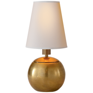 Tiny Terri Round Accent Lamp in Hand-Rubbed Antique Brass with Natural Paper Shade