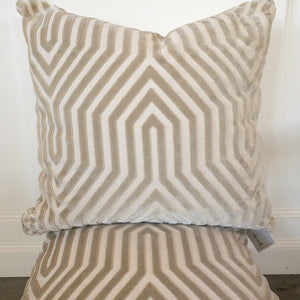 Introducing our ATELIER collection pillows beautifully made in designer fabrics.  22 x 22 Vanderbilt Greige
