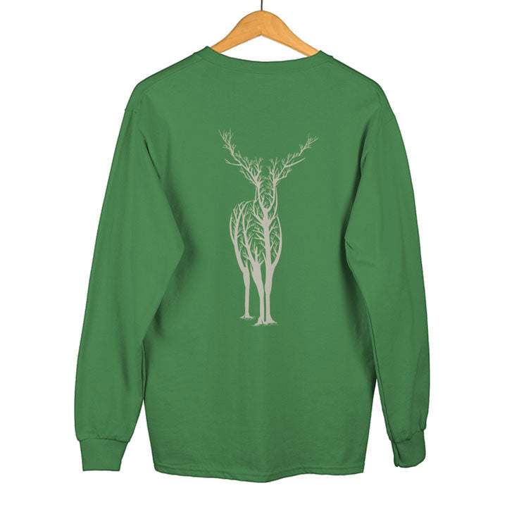 Teexpression Sweatshirt hanging womens green deer tree printed sweatshirt